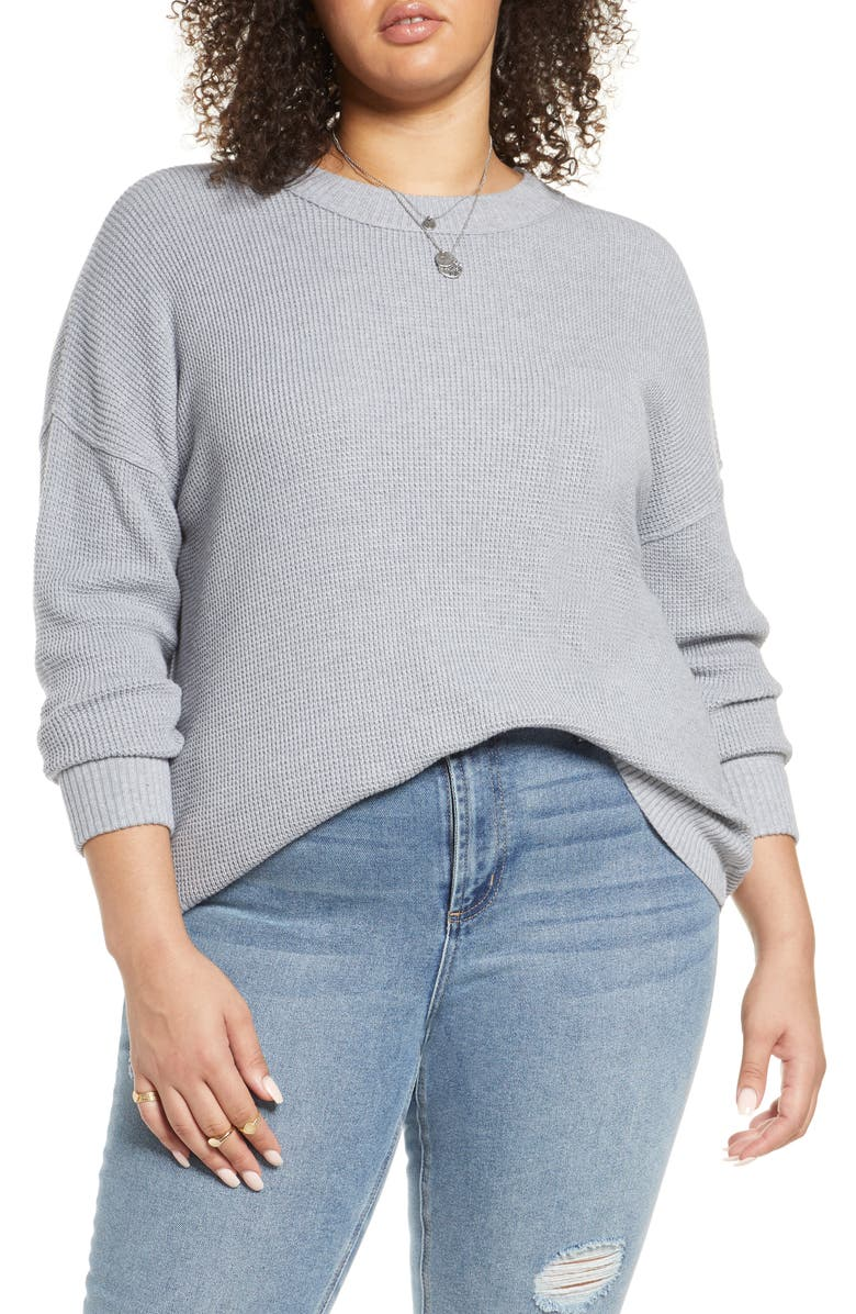 TREASURE & BOND Thermal Stitch Pullover, Main, color, GREY LIGHT HEATHER