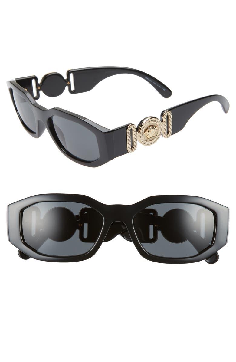 VERSACE Biggie 53mm Round Sunglasses, Main, color, BLACK SOLID