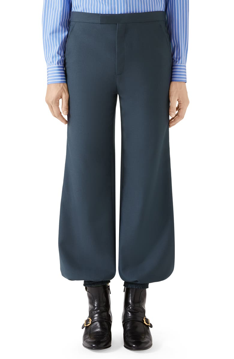 GUCCI Military Drill Harem Pants, Main, color, IRON BLUE