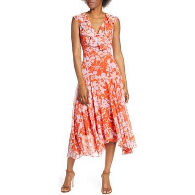 Petite Eliza J Print Handkerchief Hem Midi Dress, Orange