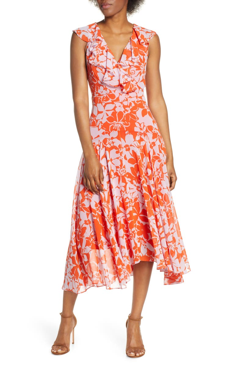 ELIZA J Print Handkerchief Hem Midi Dress, Main, color, POPPY