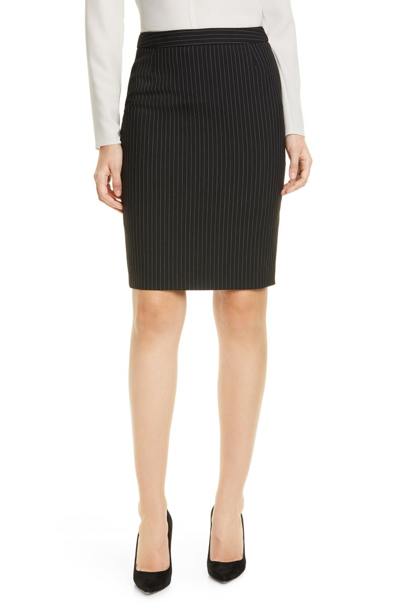BOSS Vimena Pinstripe Ponte Skirt, Main, color, BLACK PINSTRIPE