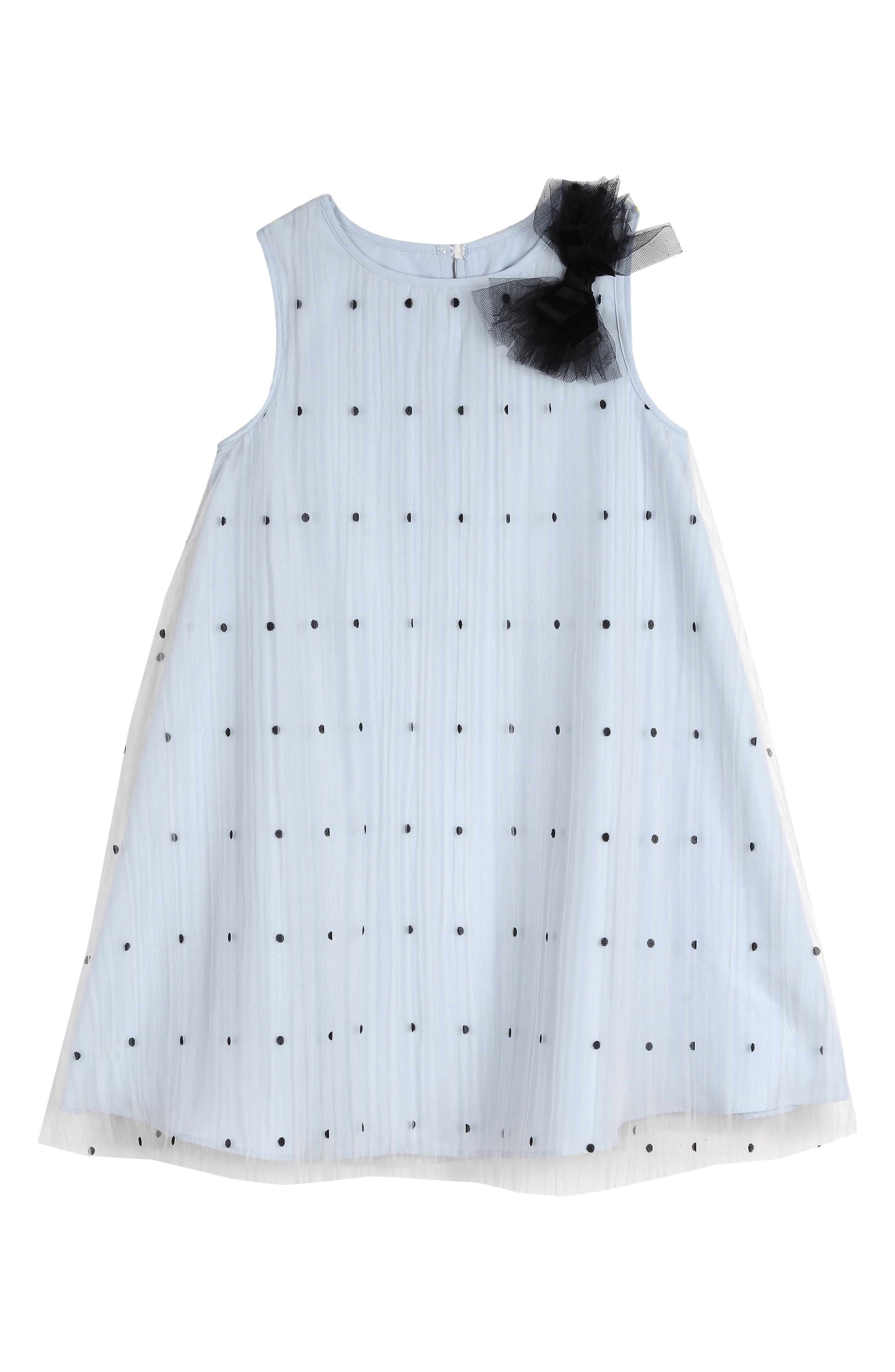 Polka Dot Tulle Shift Dress, Main, color, BLUE/ BLACK