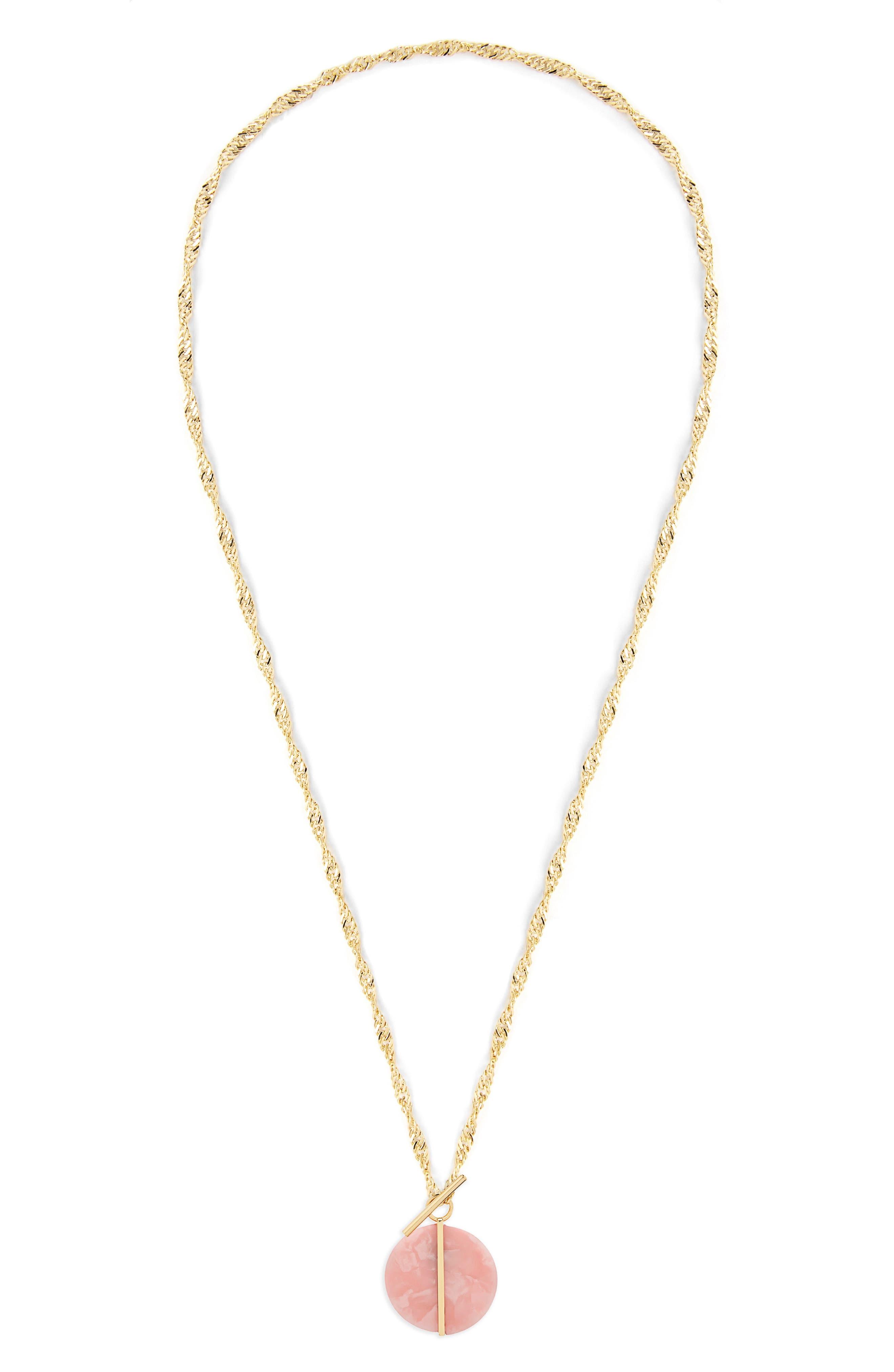 Amal Disc Pendant Toggle Necklace