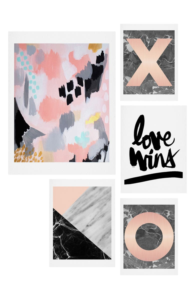 DENY DESIGNS Marble Love Five-Piece Gallery Wall Art Print Set, Main, color, GREY