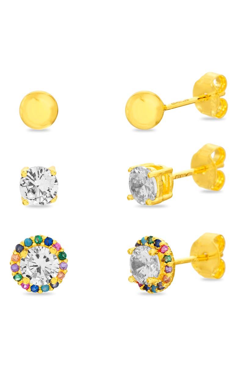 LESA MICHELE Set of 3 Stud Earrings, Main, color, GOLD