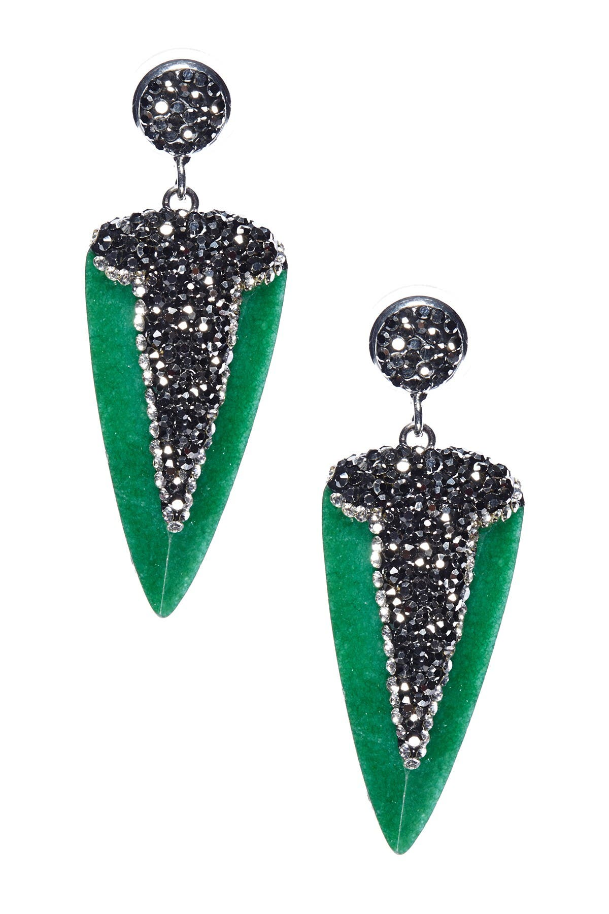 Eye Candy Los Angeles Fearless Dagger Stone Pave Crystals & Hematite Earrings at Nordstrom Rack