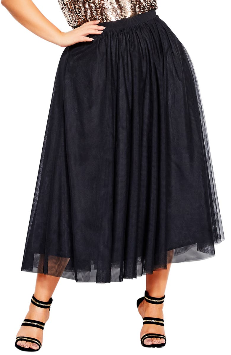 CITY CHIC Tulle Midi Skirt, Main, color, BLACK