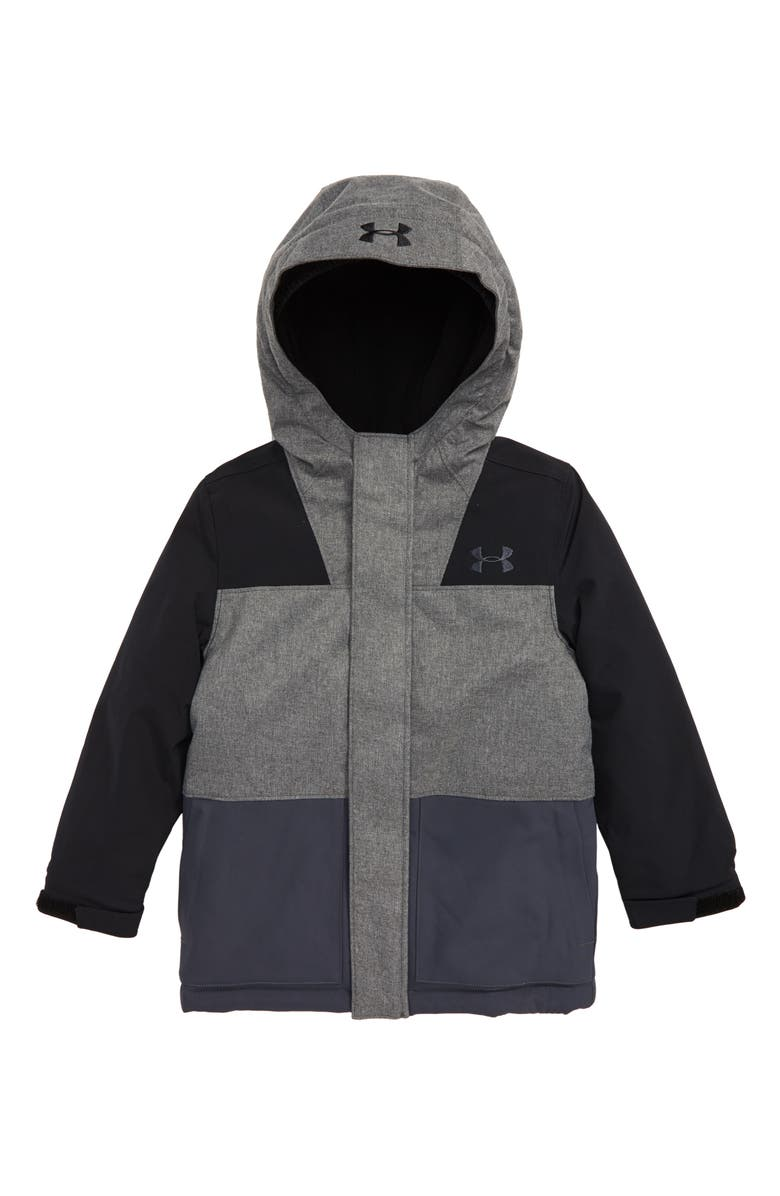 UNDER ARMOUR Slate Quarry ColdGear<sup>®</sup> Waterproof Insulated Hooded Jacket, Main, color, BLACK