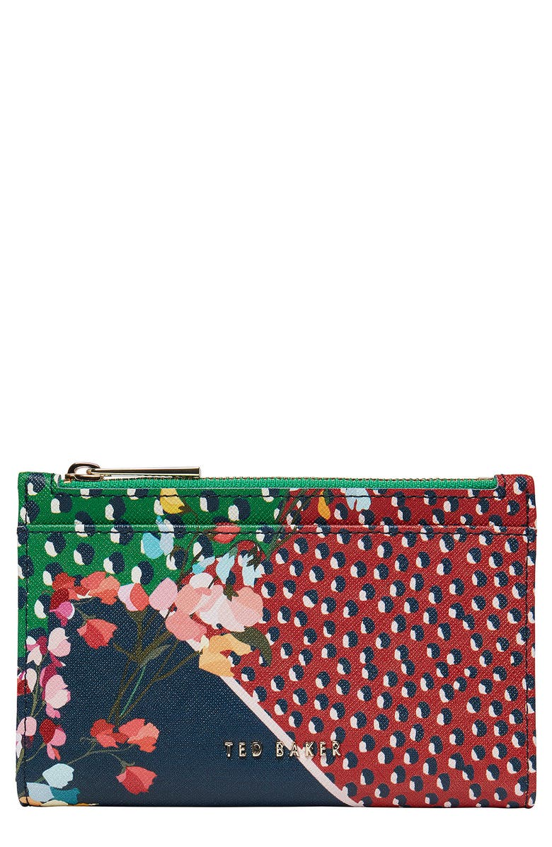 TED BAKER LONDON Hassiee Mixed Print Leather Wallet, Main, color, NAVY
