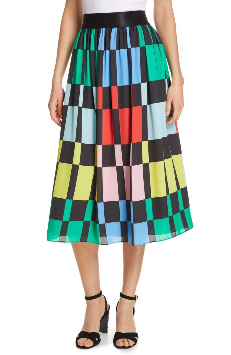 ALICE + OLIVIA Melda Midi Skirt, Main, color, 001