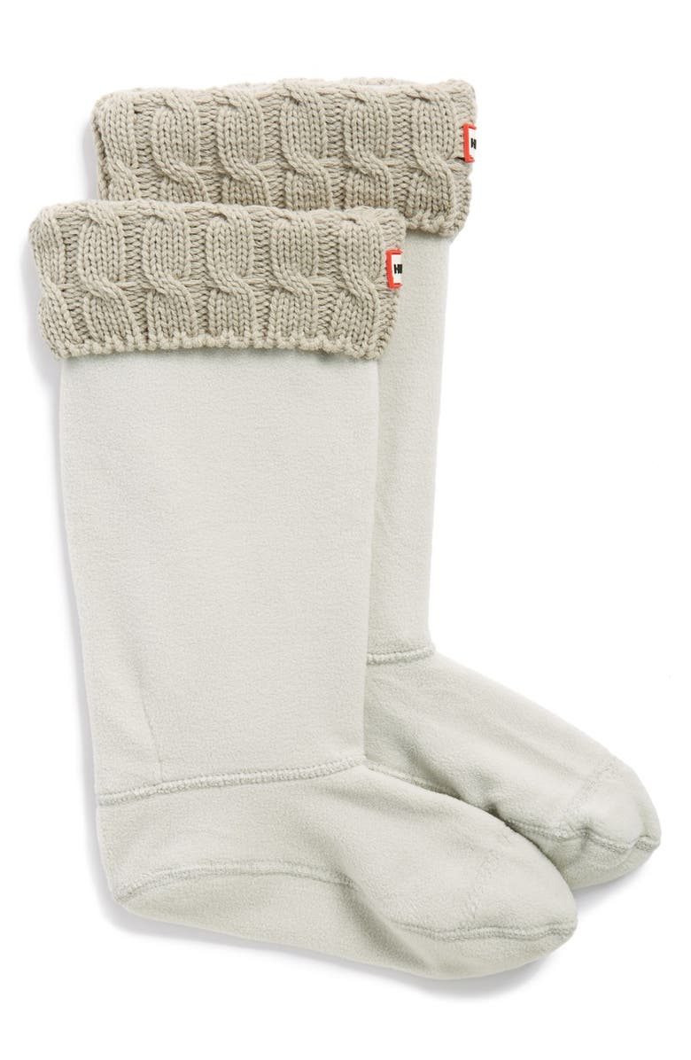 HUNTER Original Tall Cable Knit Cuff Welly Boot Socks, Main, color, GREIGE