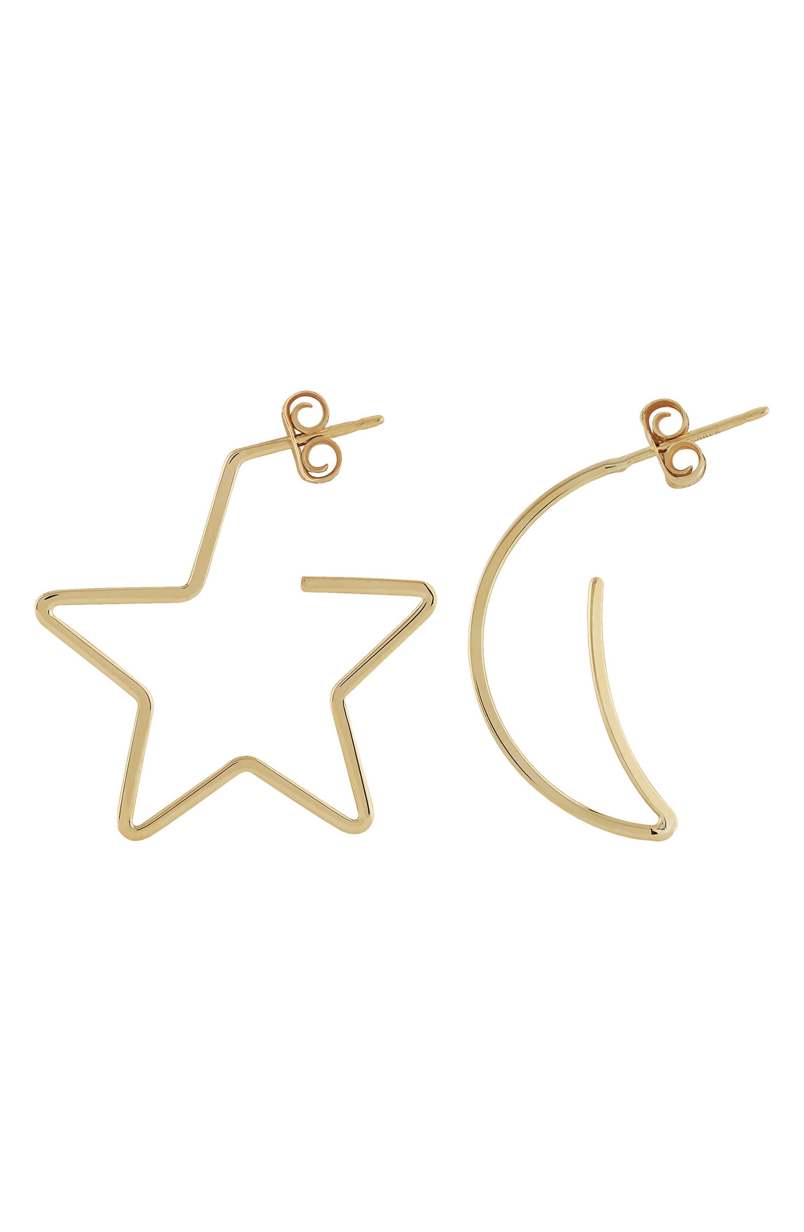 Simple Star & Moon Earrings