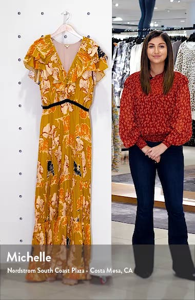 Ruffle Floral Print Crepe de Chine Maxi Dress, sales video thumbnail