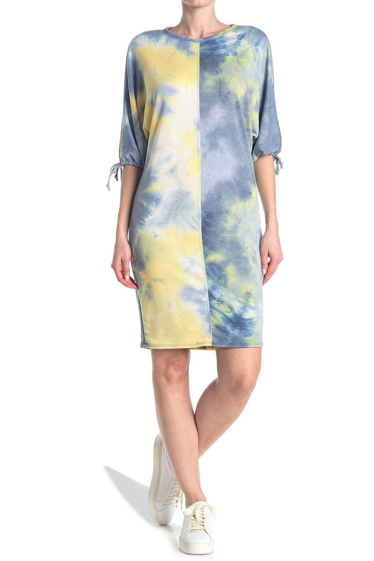 Image of Velvet Torch French Terry Tie Sleeve Dress