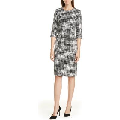 Petite Boss Decka Stretch Jacquard Sheath Dress, Black
