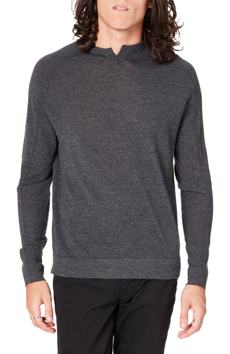 GOOD MAN BRAND MVP Slim Fit Notch Neck Wool Sweater, Main, color, CHARCOAL HEATHER