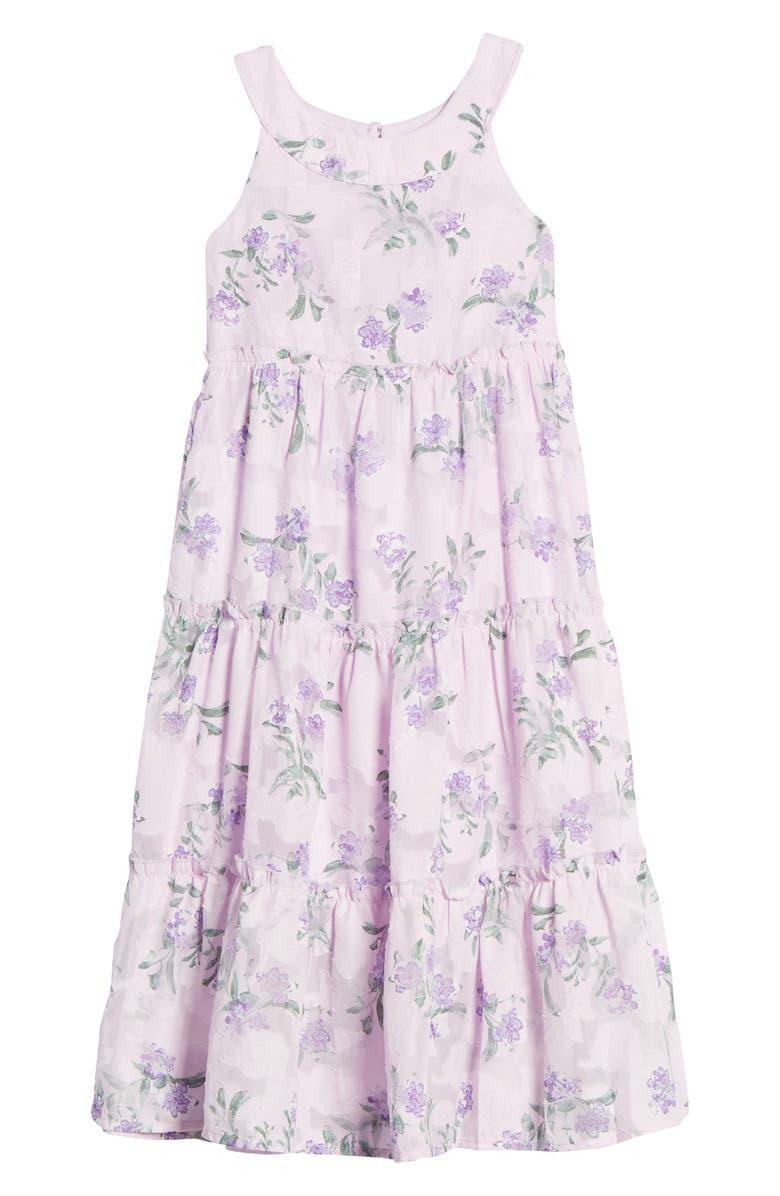 ZUNIE Burnout Flower Chiffon Dress, Main, color, LILAC FLORAL