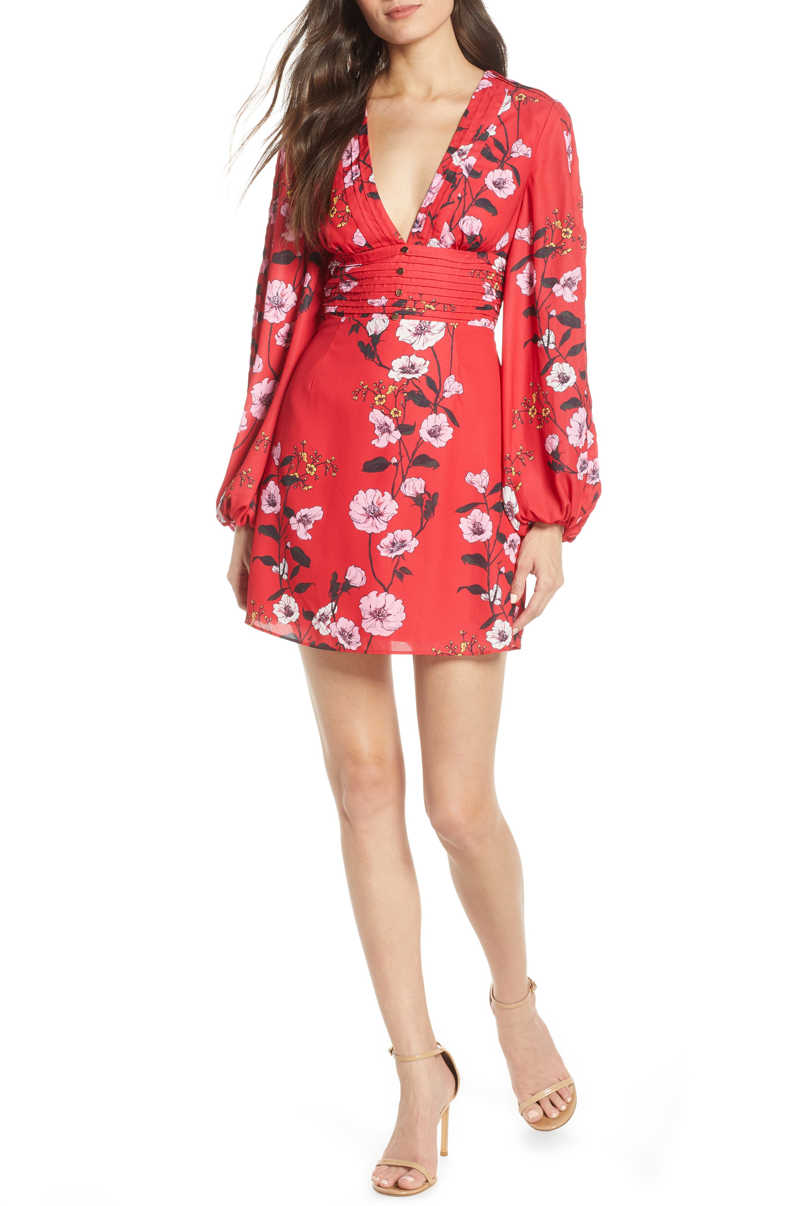 ,                             Darkness Floral Long Sleeve Minidress,                             Main thumbnail 1, color,                             SCARLET RED BLOOM