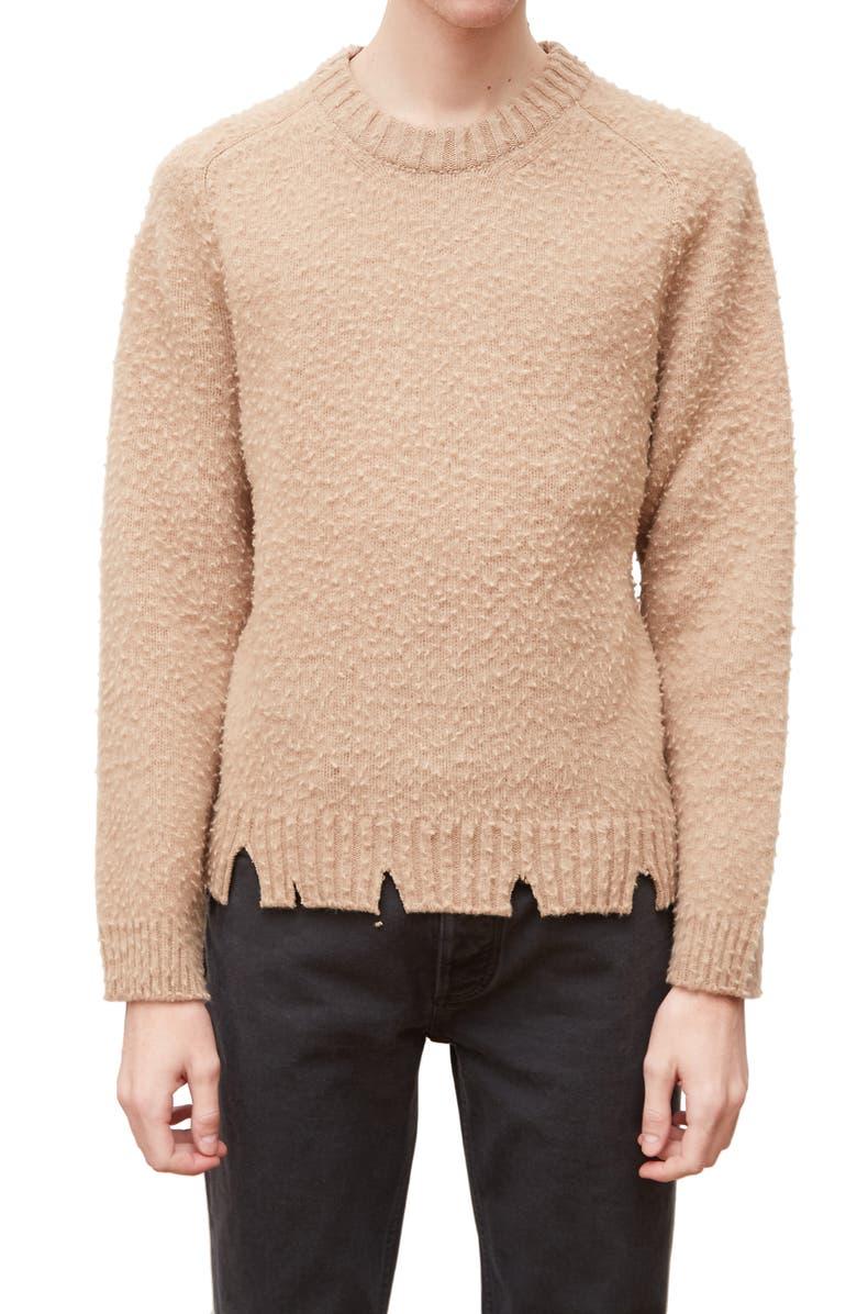 MAISON MARGIELA Pilled & Ripped Crewneck Sweater, Main, color, CAMEL