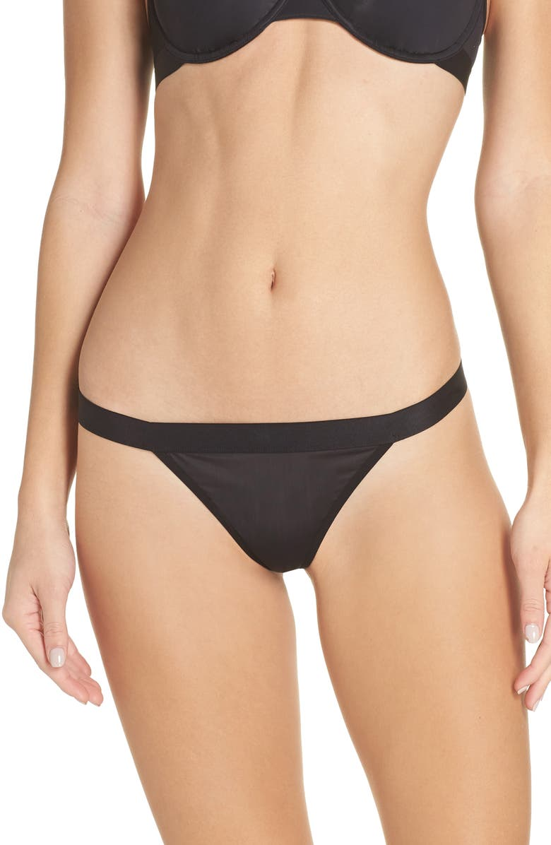 NEGATIVE UNDERWEAR Silky Thong, Main, color, BLACK