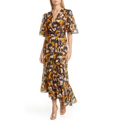 Johanna Ortiz Floral Print Maxi Wrap Dress, Black