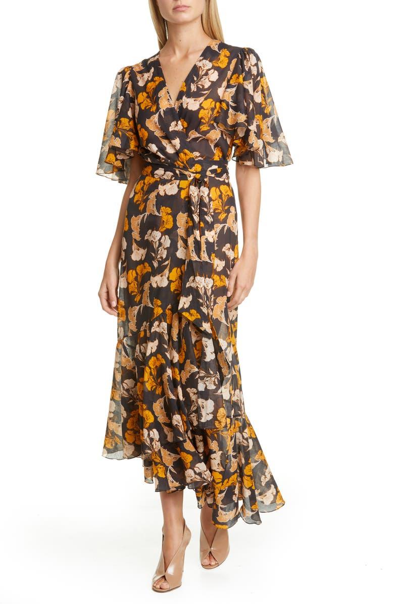 JOHANNA ORTIZ Floral Print Maxi Wrap Dress, Main, color, BLACK/ SUMMER MUSTARD