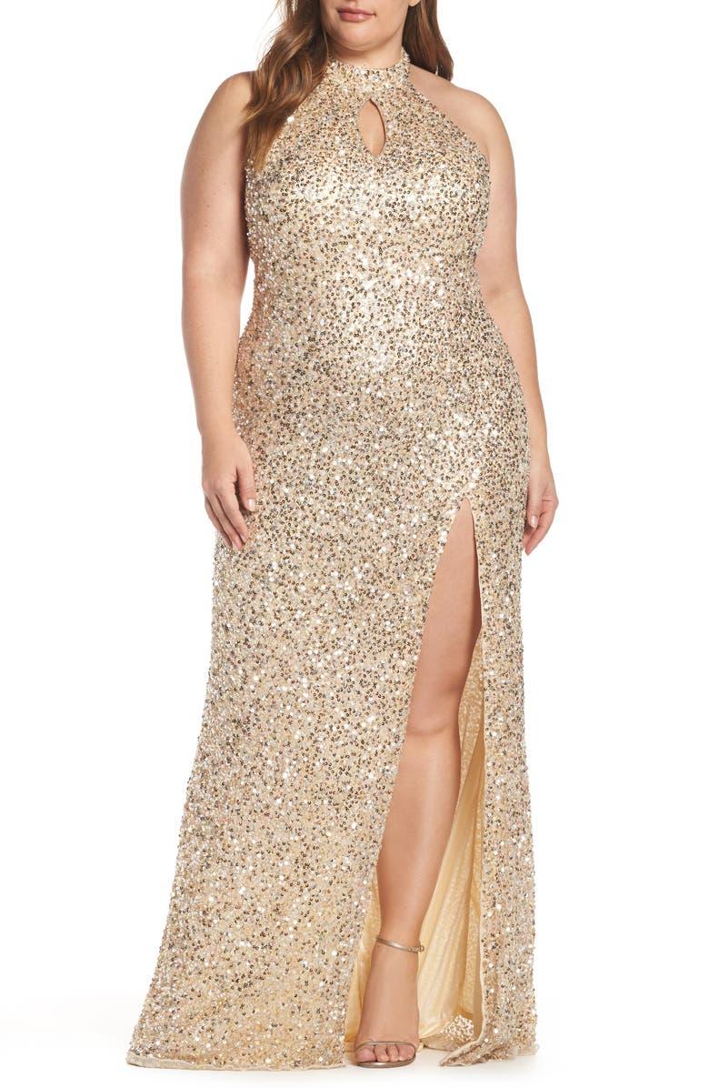 MAC DUGGAL Sequin Mesh Evening Dress, Main, color, NUDE GOLD