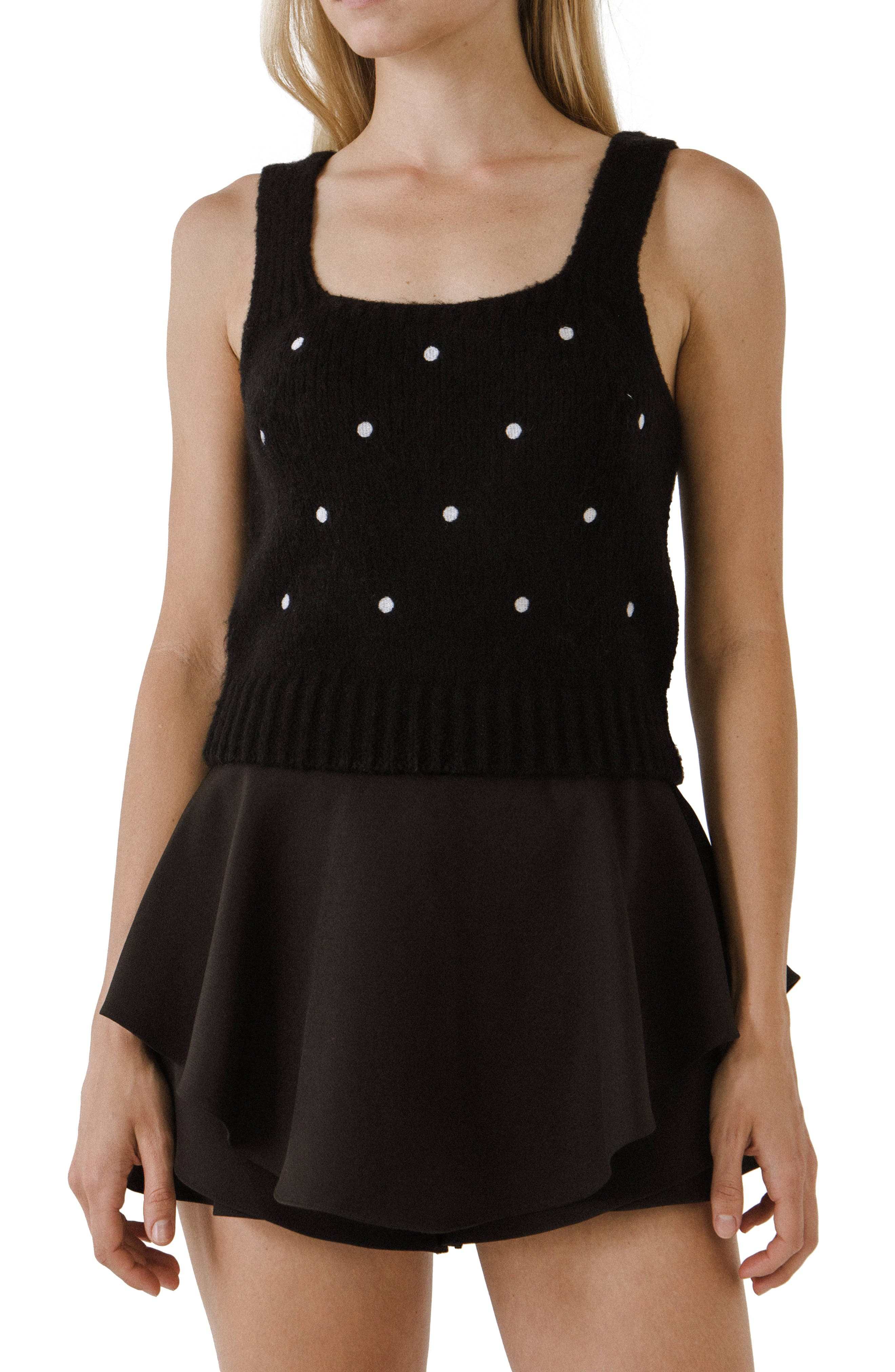 Dot Embroidered Sweater Tank