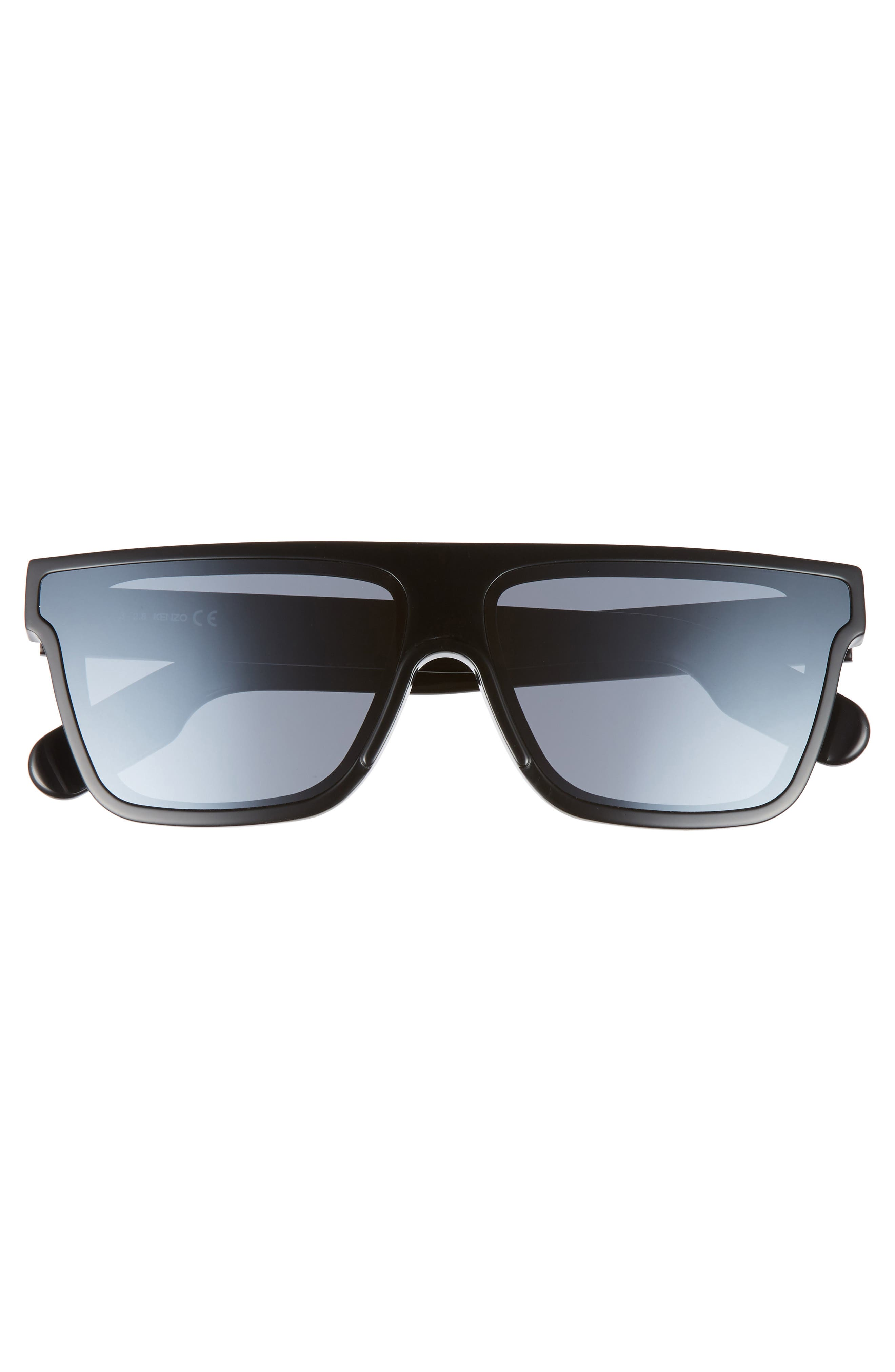 ,                             67mm Special Fit Oversize Flat Top Sunglasses,                             Alternate thumbnail 3, color,                             SHINY BLACK/ SMOKE MIRROR