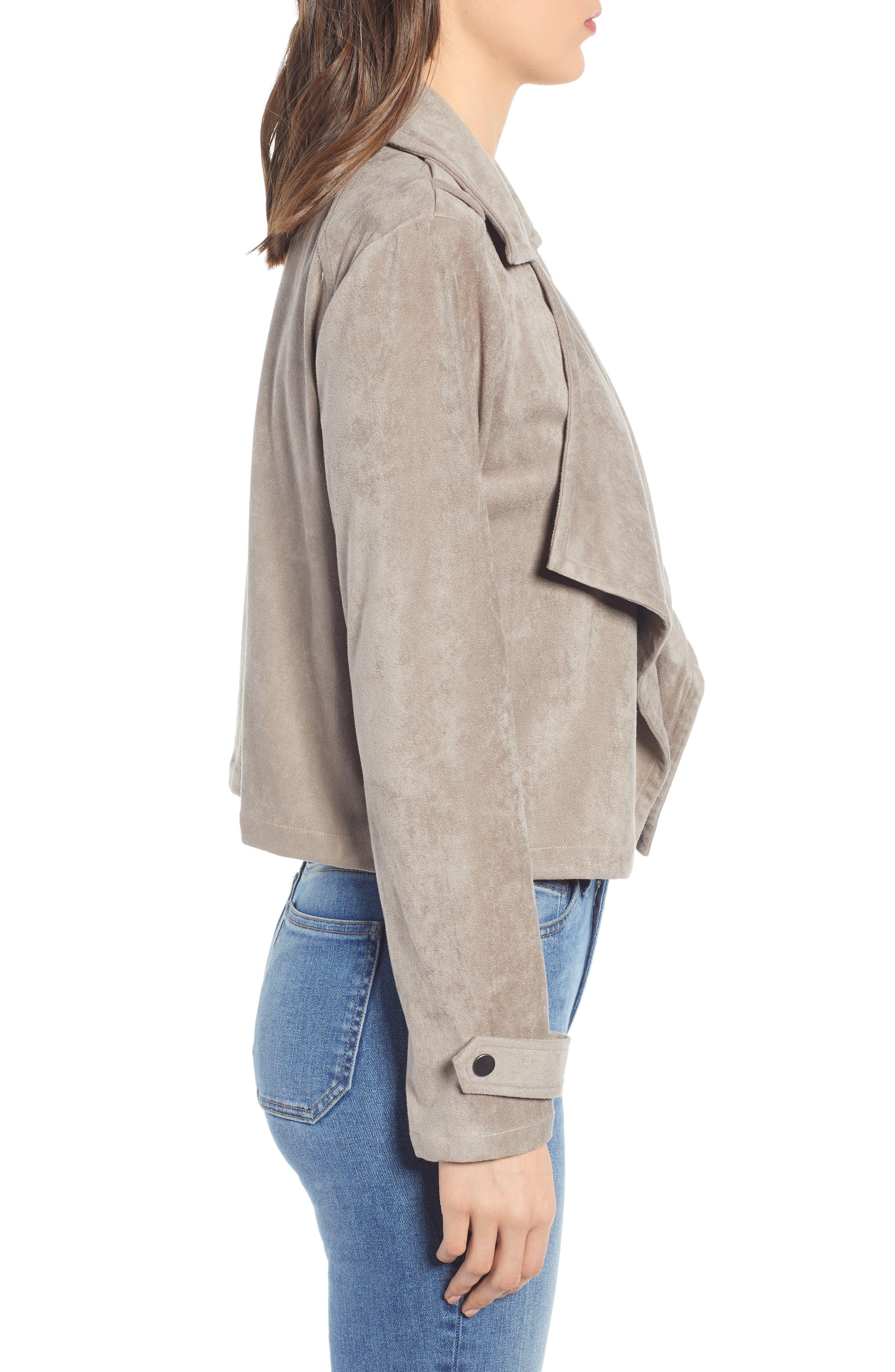 ,                             Robin Drape Front Faux Suede Jacket,                             Alternate thumbnail 4, color,                             020