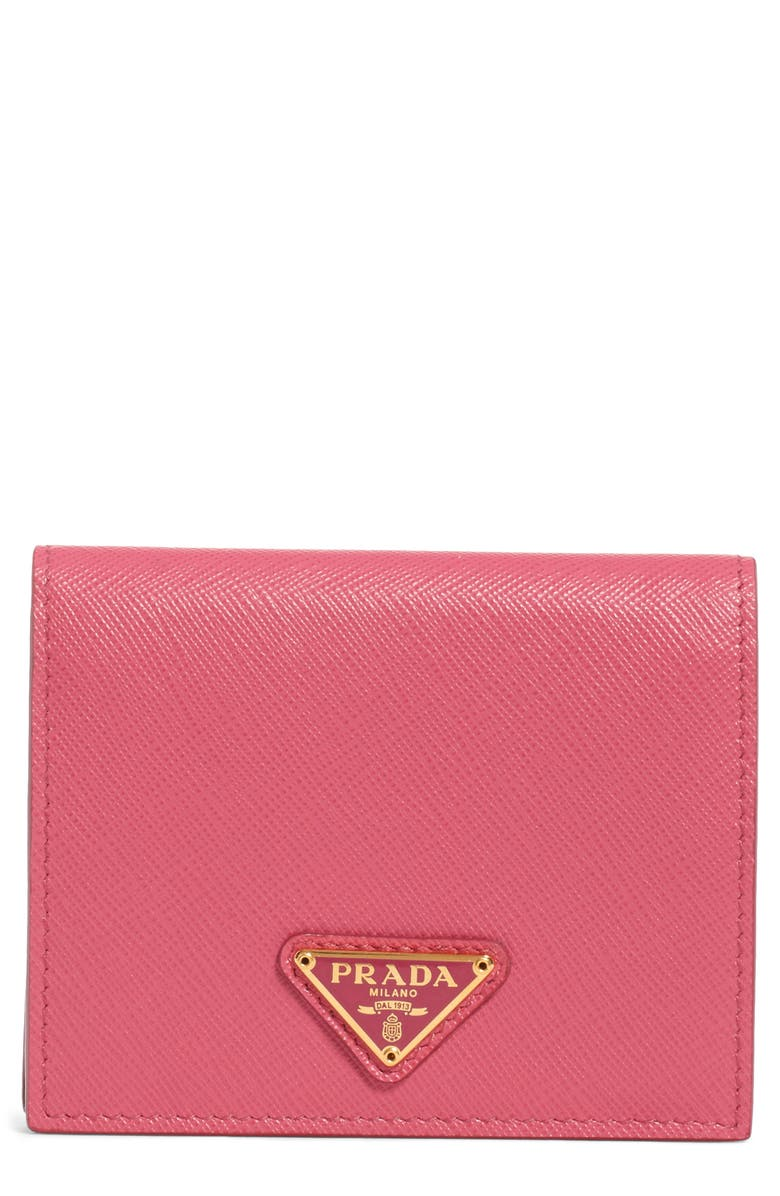 PRADA Small French Leather Wallet, Main, color, PEONIA/ FUXIA D HEART