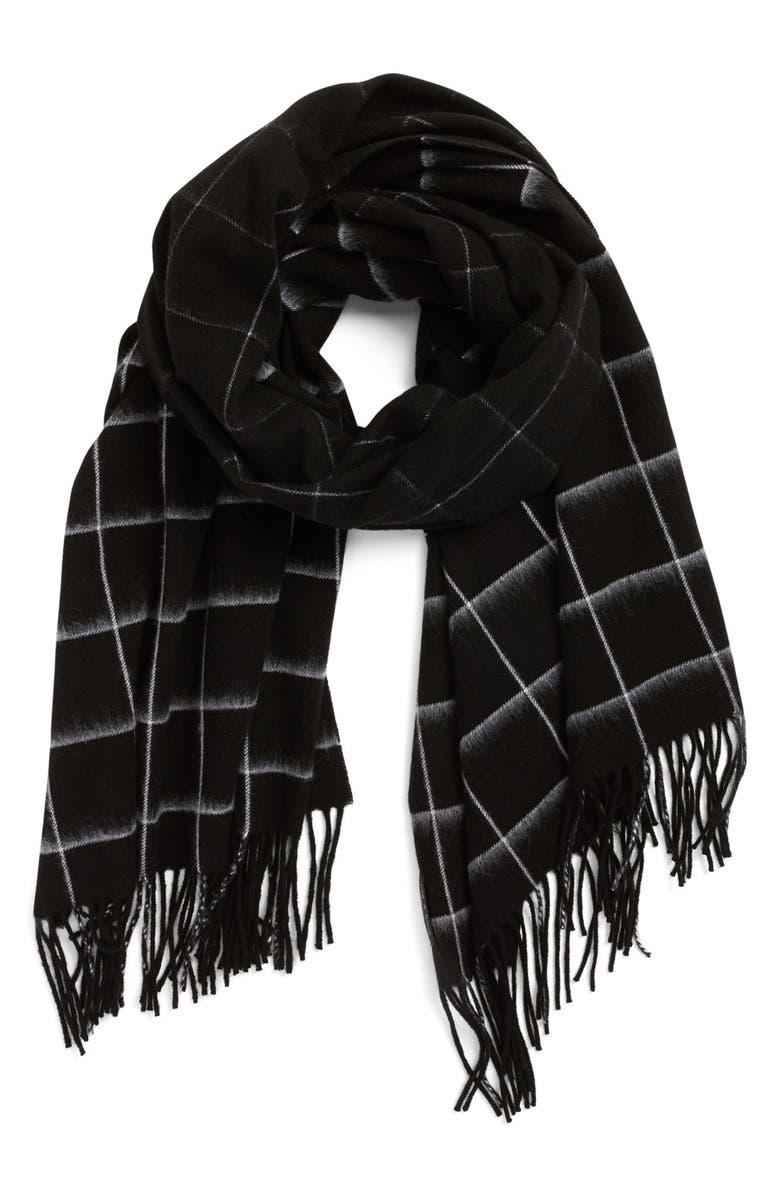 RAG & BONE 'Brushed Check' Merino Wool Scarf, Main, color, 001