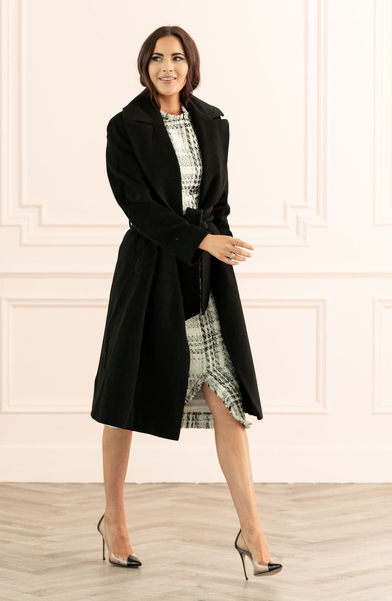 RACHEL PARCELL Wool Blend Wrap Coat, Main, color, BLACK