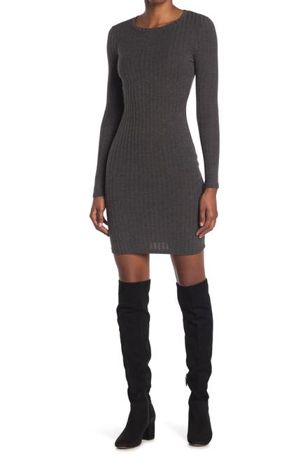 Image of Velvet Torch Ribbed Knit Mini Dress