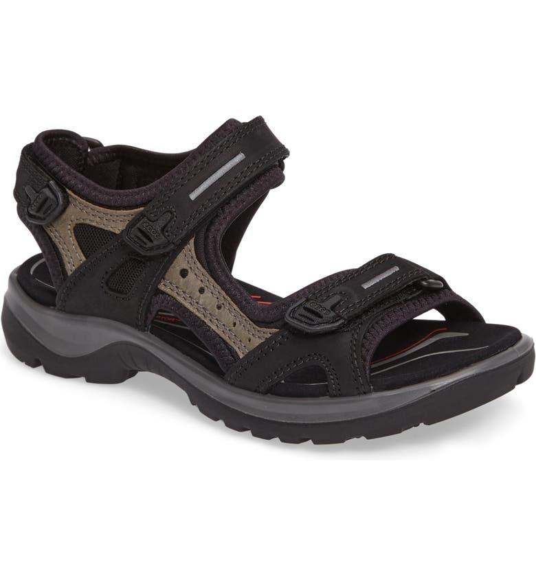 ECCO Yucatan Sandal, Main, color, BLACK/ MOLE