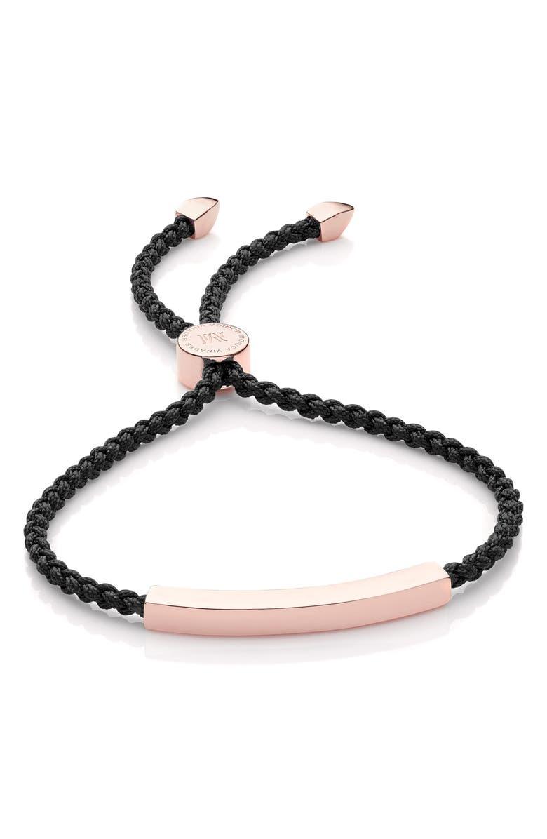 MONICA VINADER Engravable Linear Friendship Bracelet, Main, color, ROSE GOLD/ BLACK