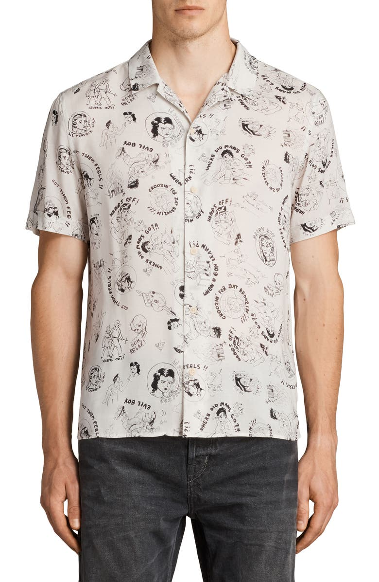 ALLSAINTS Feels Print Slim Fit Camp Shirt, Main, color, ECRU