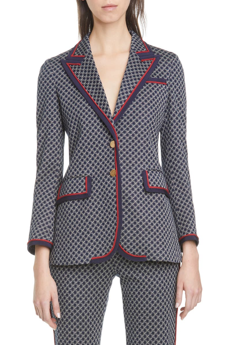 GUCCI Square G-Logo Jacquard Knit Jacket, Main, color, BLUE/ MIX