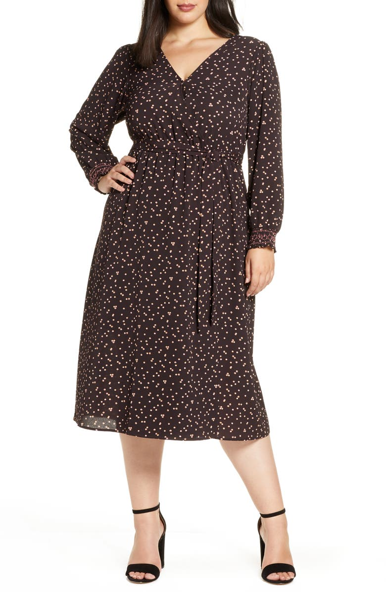 BOBEAU Faun Long Sleeve Midi Wrap Dress, Main, color, 201