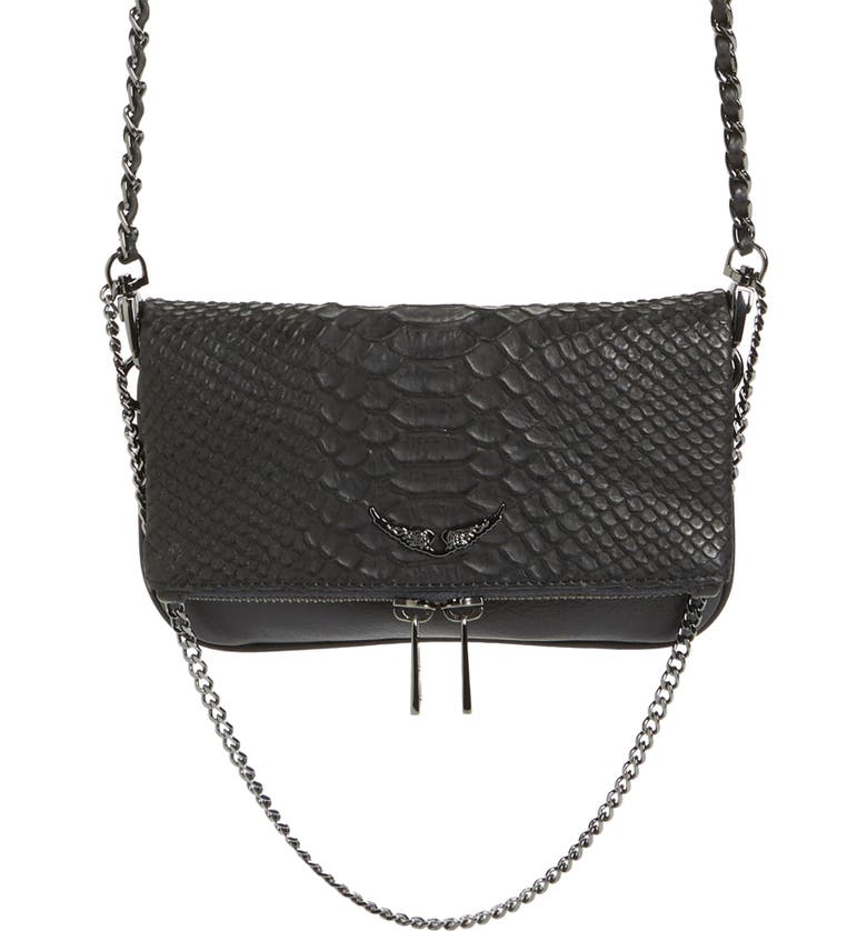 ZADIG & VOLTAIRE Nano Rocky Savage Python Embossed Leather Bag, Main, color, NOIR