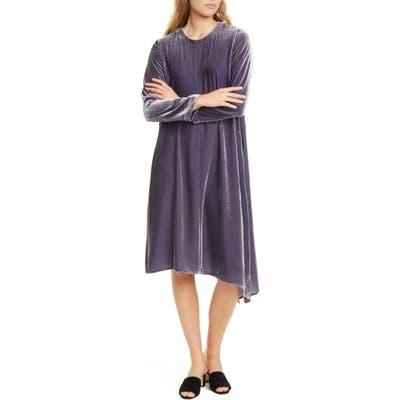 Eileen Fisher Asymmetrical Hem Velvet Long Sleeve T-Shirt Dress, Grey