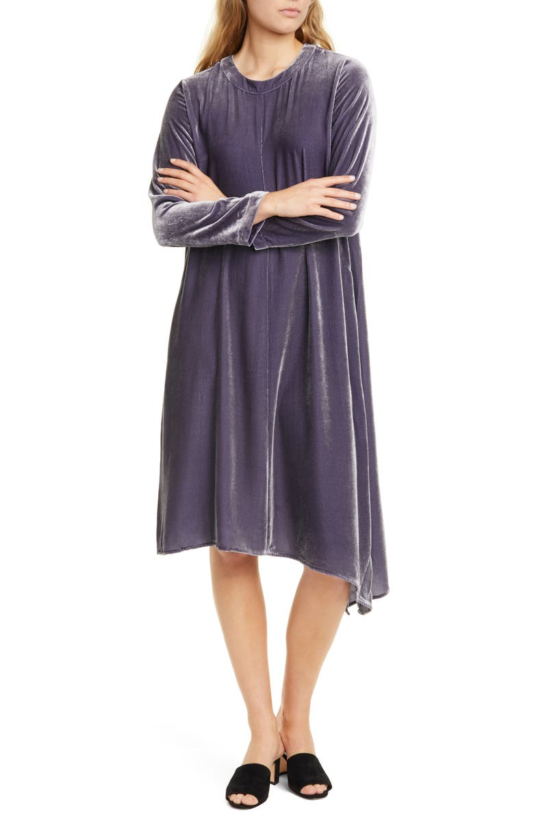 EILEEN FISHER Asymmetrical Hem Velvet Long Sleeve T-Shirt Dress, Main, color, BLUE SHALE