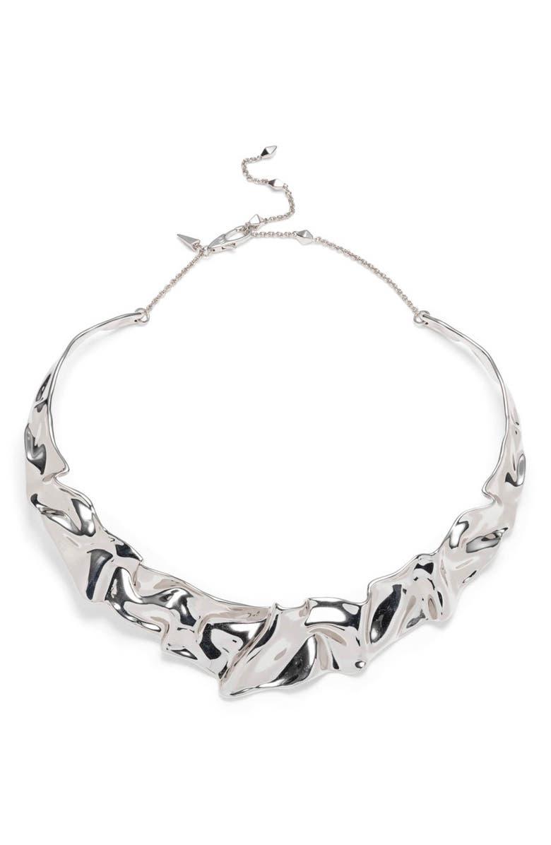 ALEXIS BITTAR Crumpled Collar Necklace, Main, color, SILVER