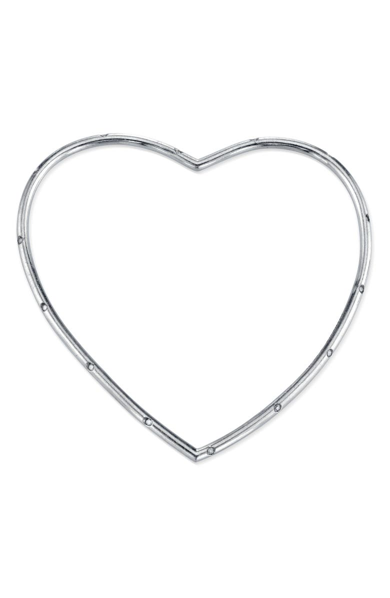 SHERYL LOWE Scattered Heart Bangle, Main, color, STERLING SILVER
