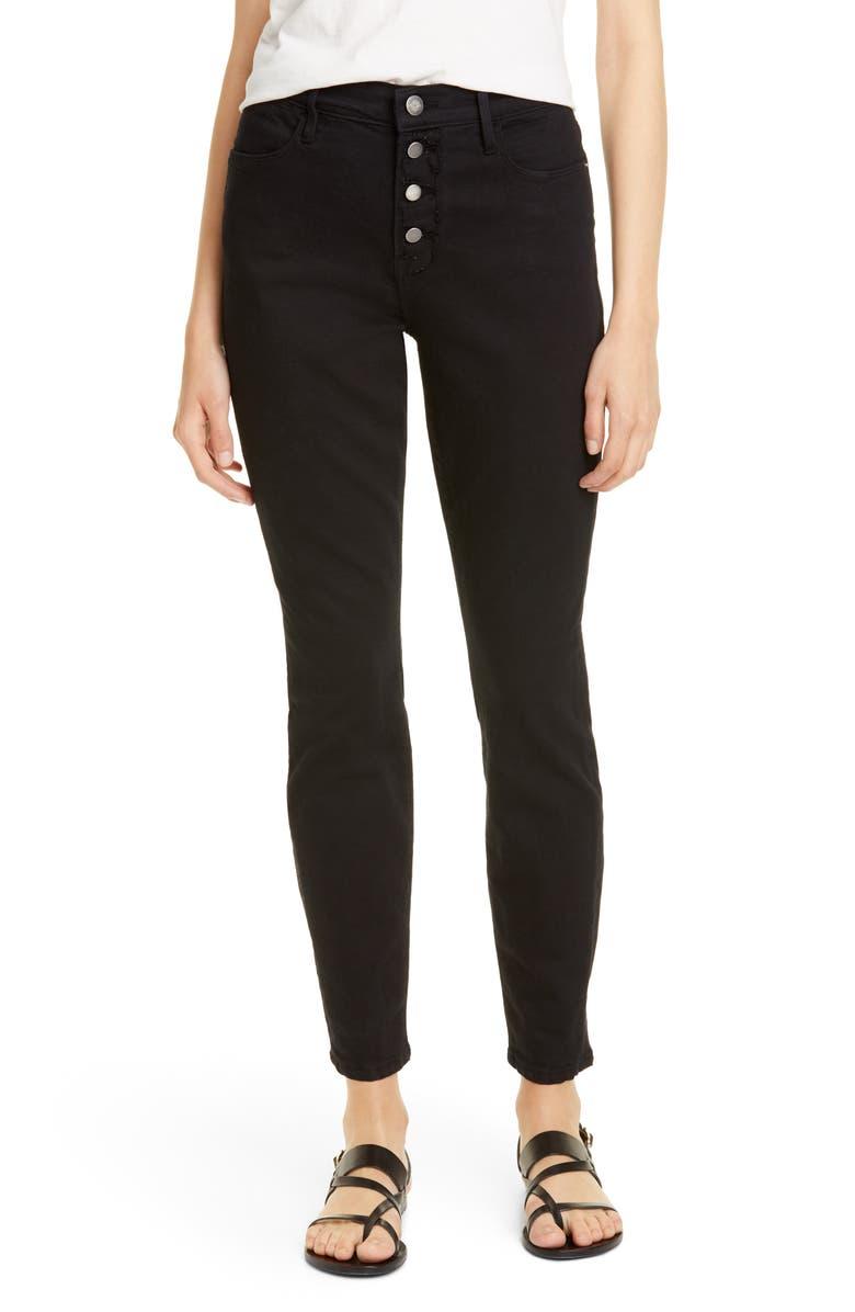 FRAME Le High Waist Ankle Skinny Jeans, Main, color, NOIR STREET
