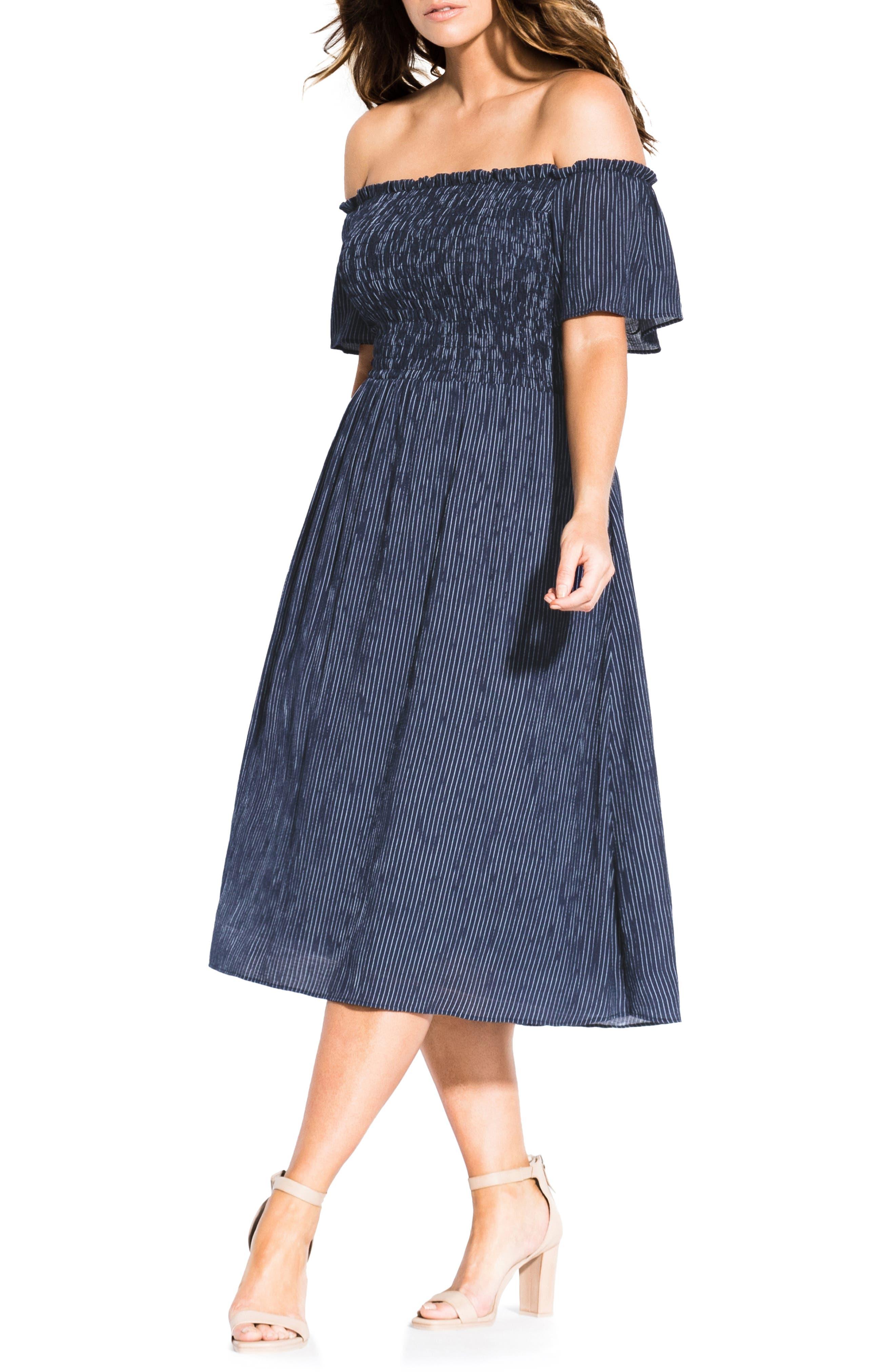 Plus Size City Chic Off The Shoulder A-Line Dress, Blue