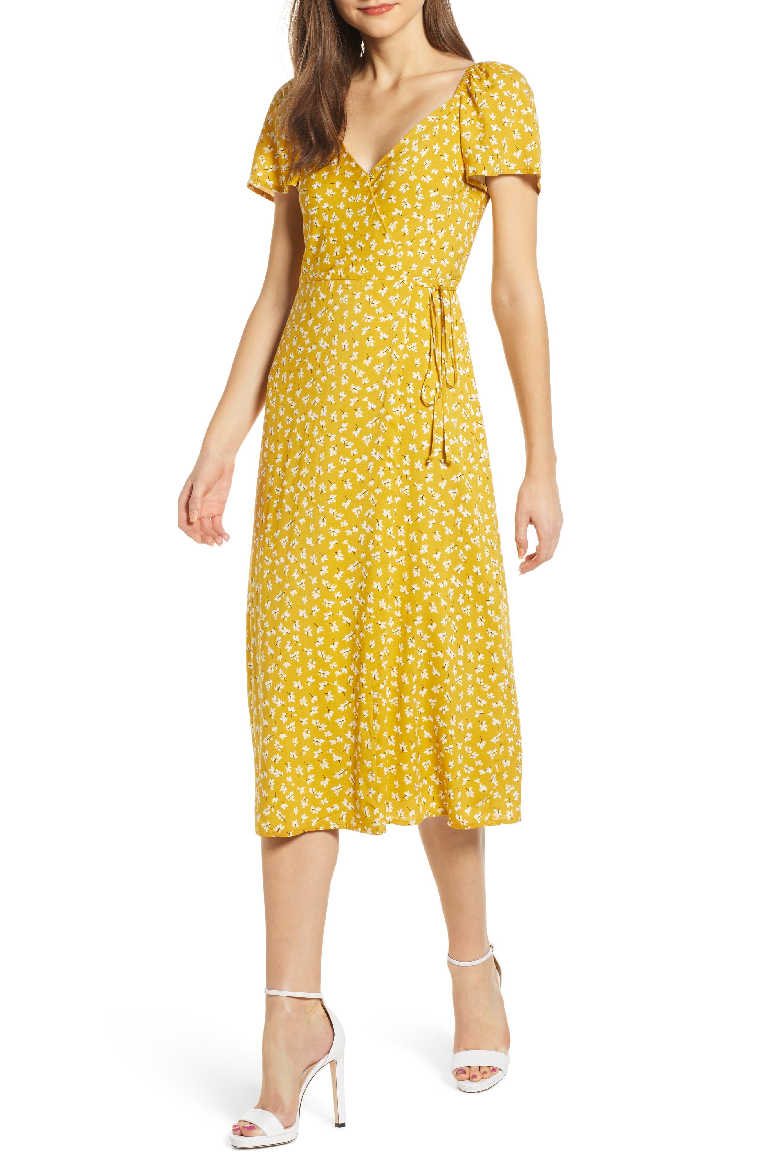4Si3Nna Short Sleeve Wrap Dress, Yellow