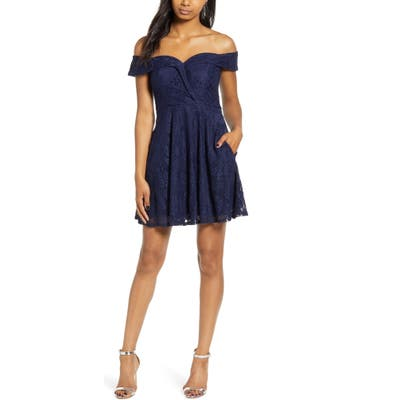 Speechless Off The Shoulder Lace Skater Dress, Blue