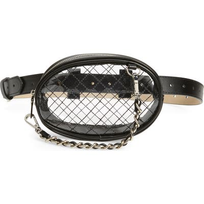 Steve Madden Diamond Quilted Clear Belt Bag - Black